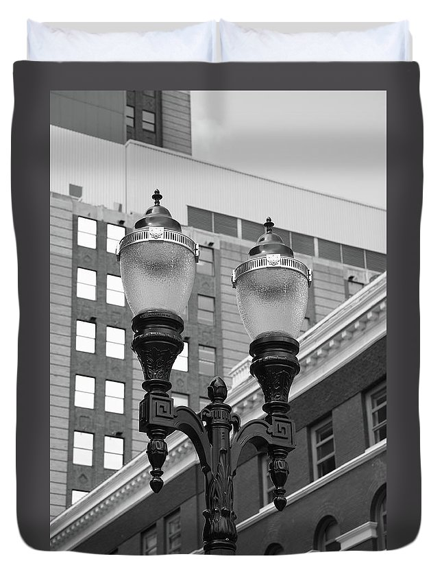 Antique Duvet Cover featuring the photograph Streetlights - Lansing Michigan by Frank Romeo