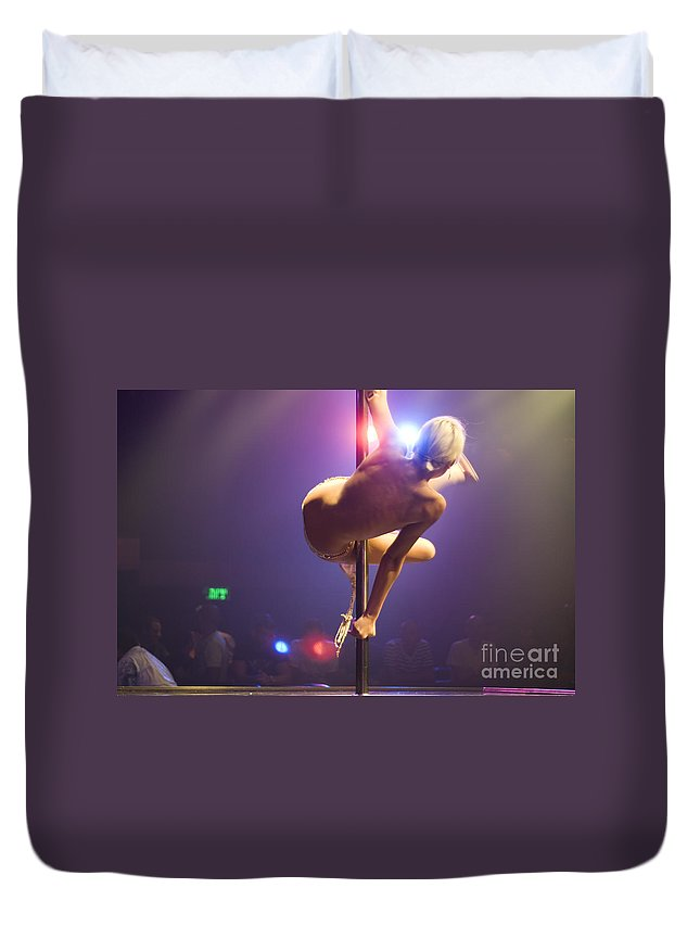 Pole Duvet Cover featuring the photograph Strippers Club by Shay Fogelman