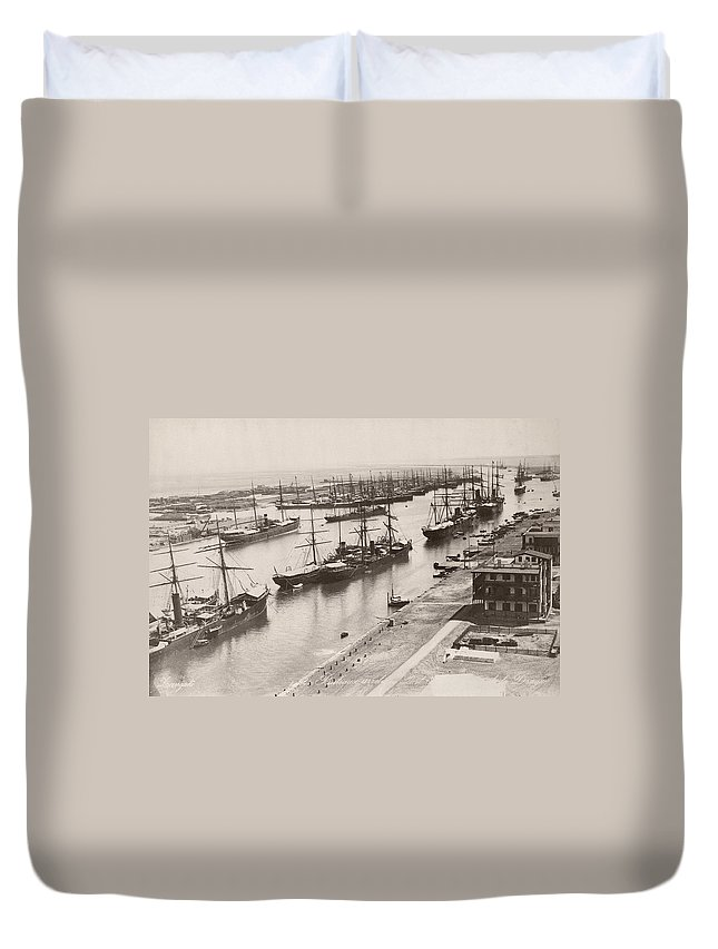 1894 Duvet Cover featuring the photograph Suez Canal Port Said by Granger
