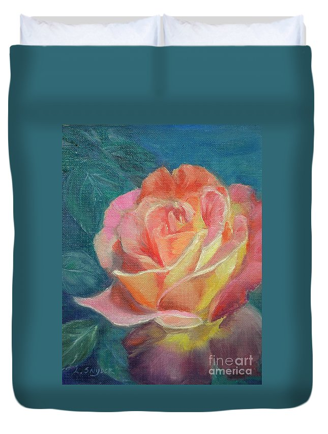 Rose Duvet Cover featuring the painting Summer Bloom 1 by Liz Snyder