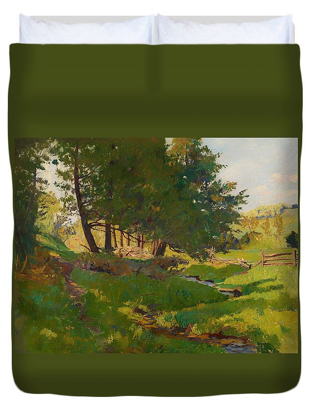 Painting Duvet Cover featuring the painting Summer Near Beaupre by Mountain Dreams