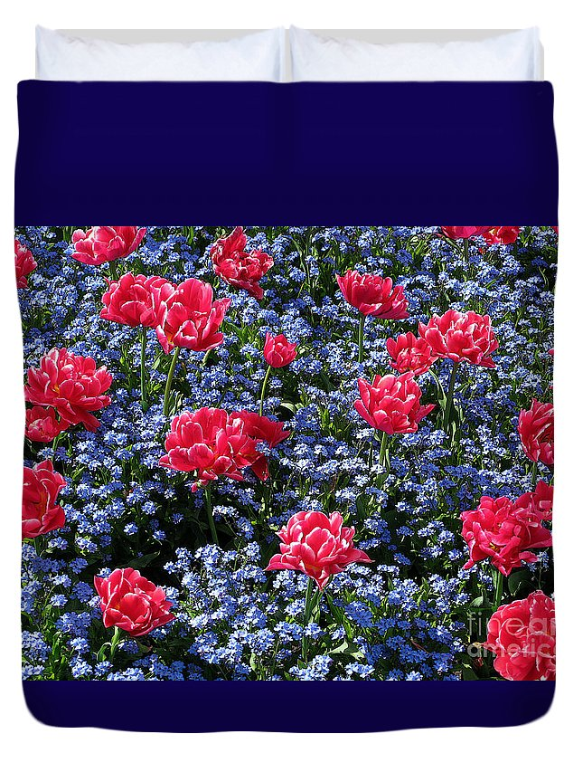 Flowers Duvet Cover featuring the photograph Sun-drenched Flowerbed by Ann Horn