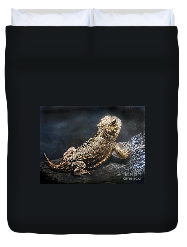 Horned Toad Duvet Cover featuring the painting Sunbather by Artist Karen Barton