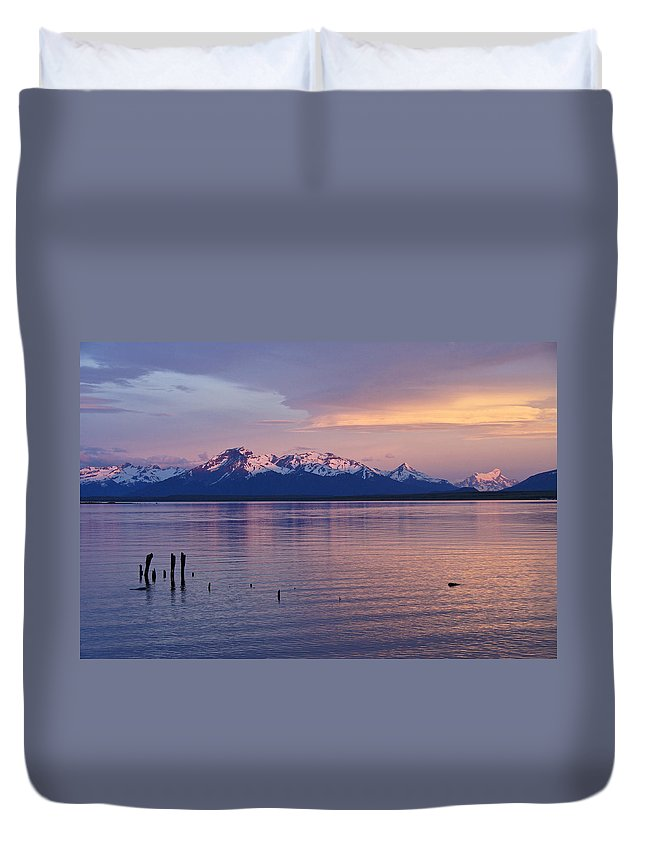 Chile Duvet Cover featuring the photograph Sunrise Over Ultima Esperanza by Michele Burgess
