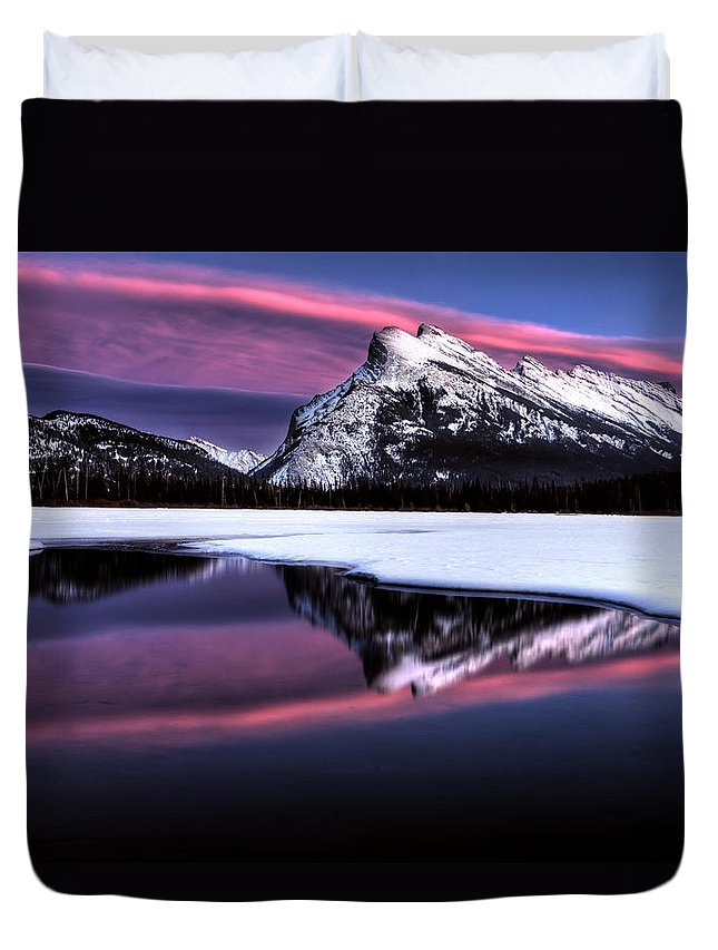 Lake Duvet Cover featuring the photograph Sunset Mount Rundle by Mark Duffy