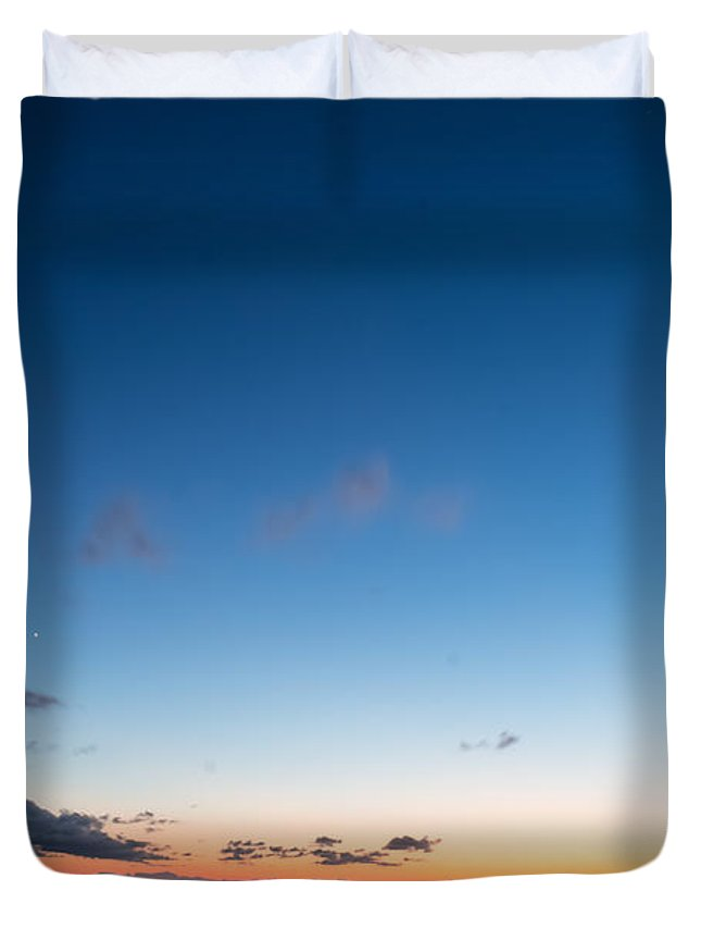 Blue Duvet Cover featuring the photograph Sunset On The Beach by Gaurav Singh