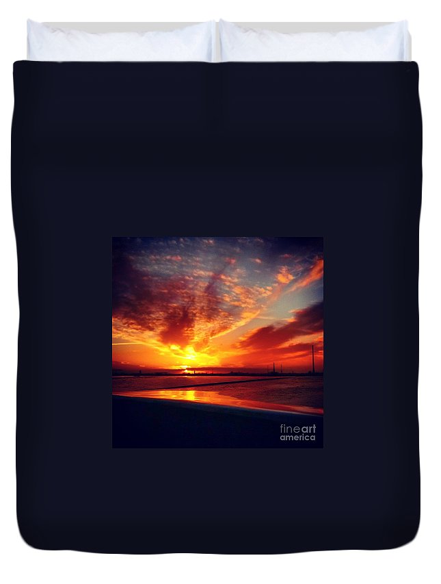Sky Duvet Cover featuring the photograph Sunset Puddle Reflections by Jacks Skystore