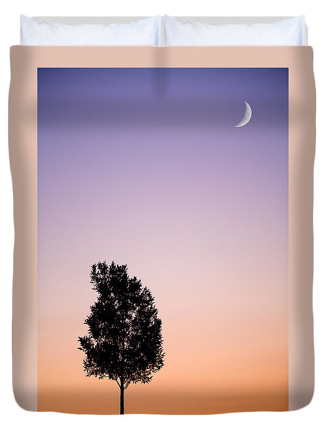 Tree Duvet Cover featuring the photograph Sunset Tree by Alexey Stiop