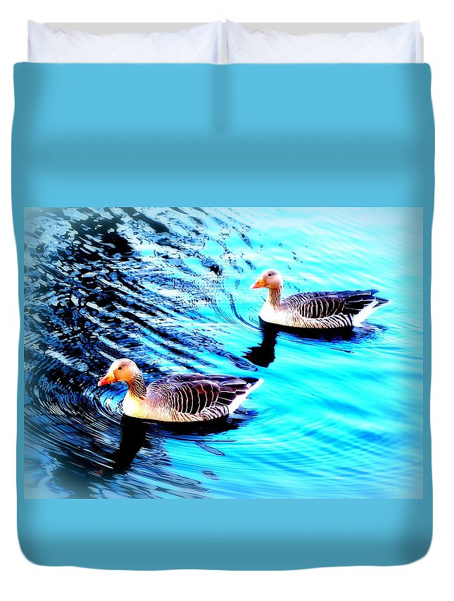 Face Duvet Cover featuring the photograph Swim With Me To The End Of Time by Hilde Widerberg