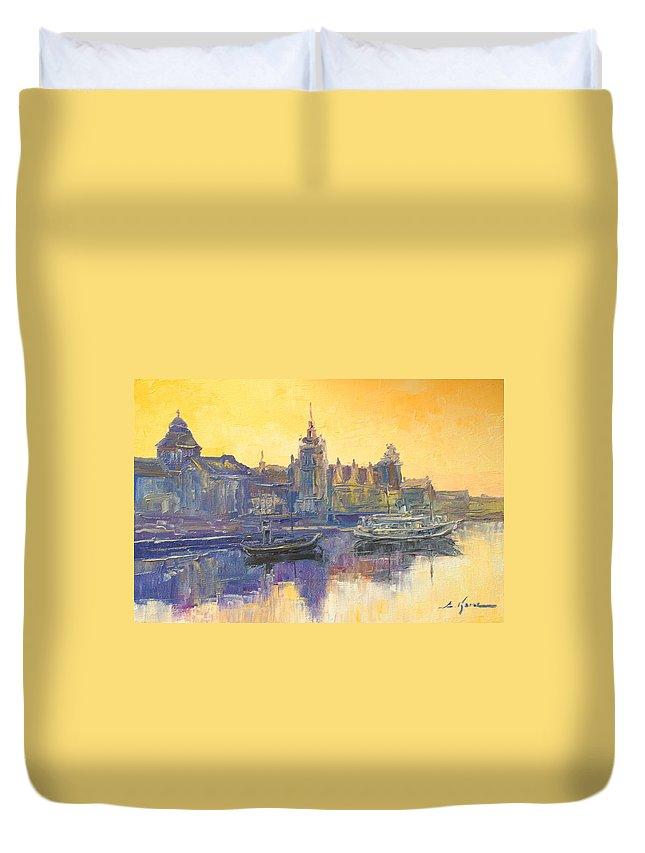 Szczecin Duvet Cover featuring the painting Szczecin - Poland by Luke Karcz