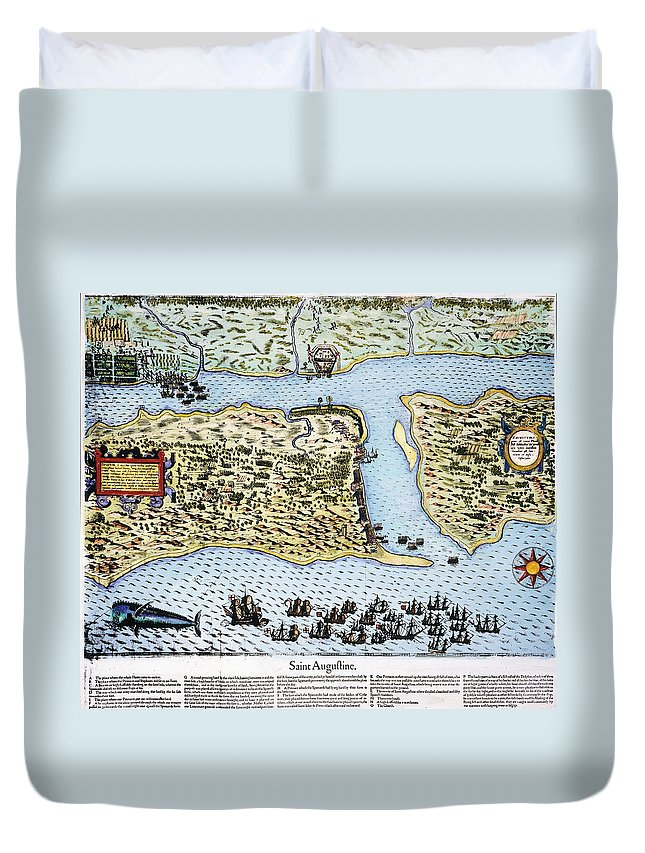 1586 Duvet Cover featuring the photograph Taking Of St. Augustine by Granger