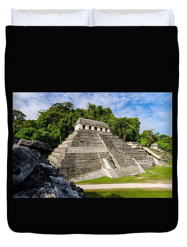 Palenque Duvet Cover featuring the photograph Temple Of Inscriptions by Jess Kraft