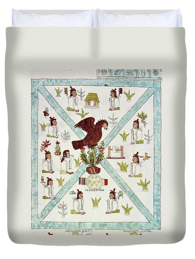 1542 Duvet Cover featuring the drawing Tenochtitlan (mexico City) With Aztec by Granger