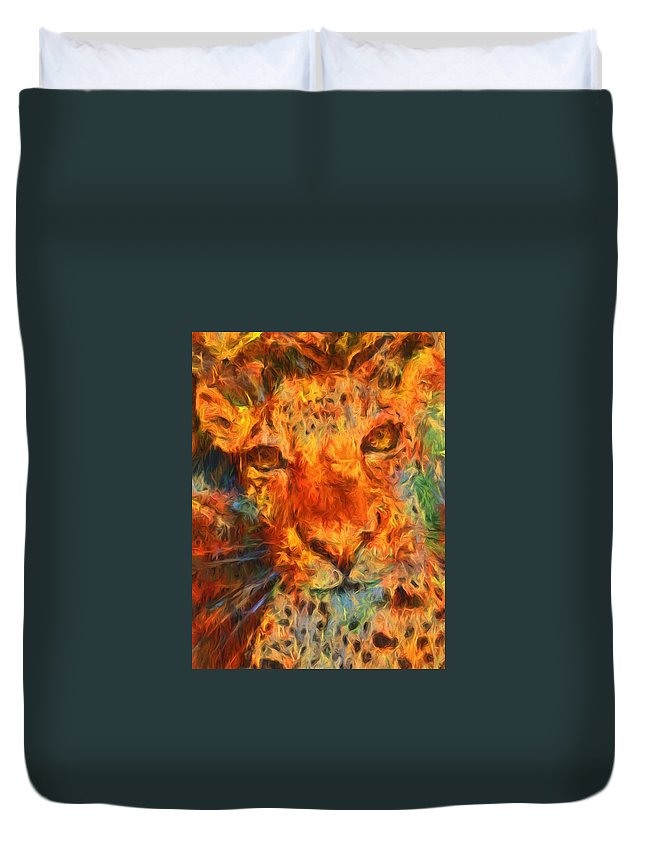 Jaguar Duvet Cover featuring the photograph That Cat by Alice Gipson