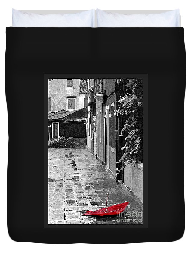 Umbrella Duvet Cover featuring the photograph The Abandoned Umbrella by Mike Nellums