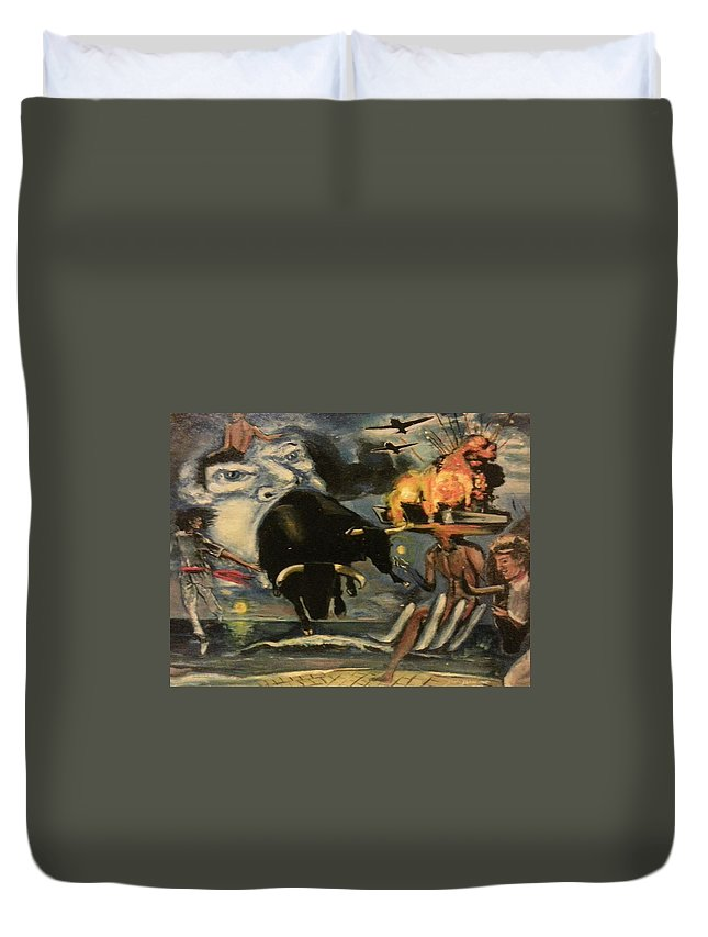 Duvet Cover featuring the painting The Air Giving Birth To The Beasts Of The Feild by Jude Darrien