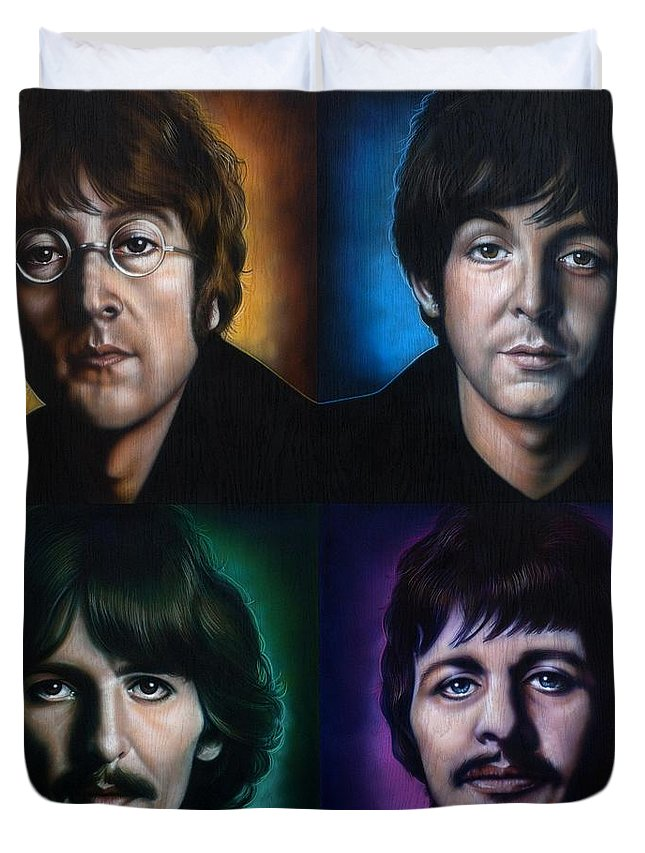 The Beatles Duvet Cover featuring the painting The Beatles by Timothy Scoggins