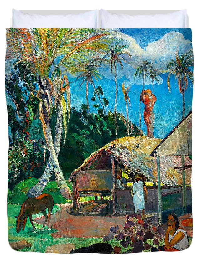 Paul Gauguin Duvet Cover featuring the painting The Black Pigs by Paul Gauguin