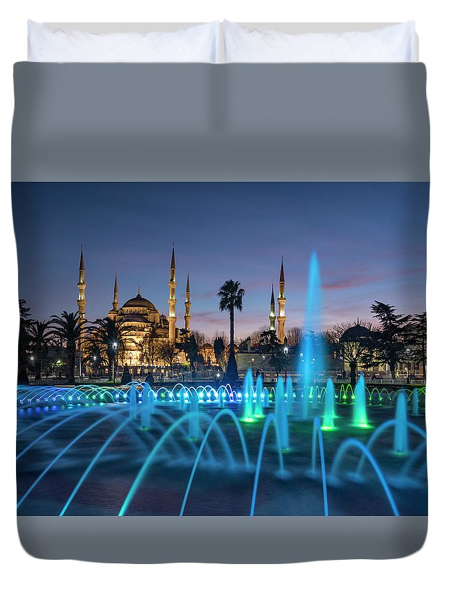 City Duvet Cover featuring the photograph The Blue Mosque by Ayhan Altun