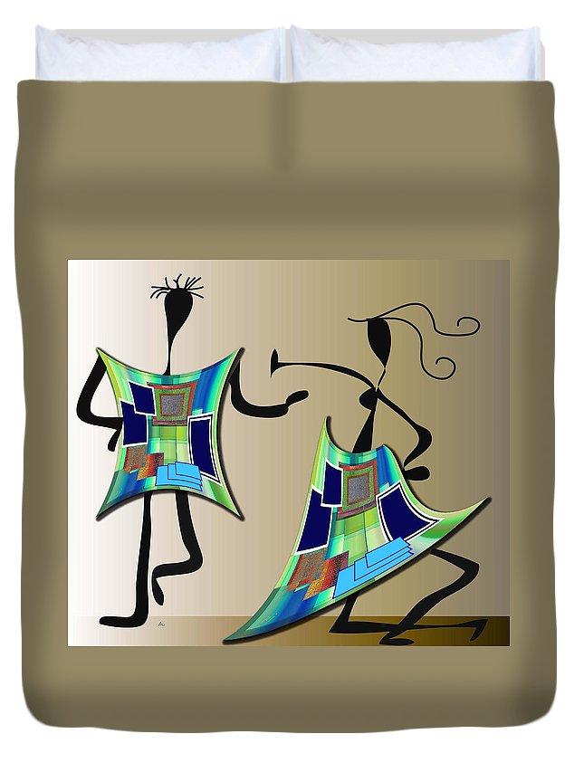 Digital Duvet Cover featuring the digital art The Dancers by Iris Gelbart