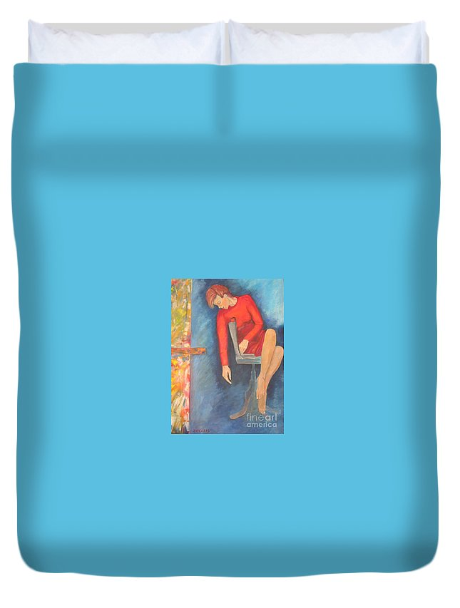 Girl Duvet Cover featuring the painting The Dream by Dagmar Helbig