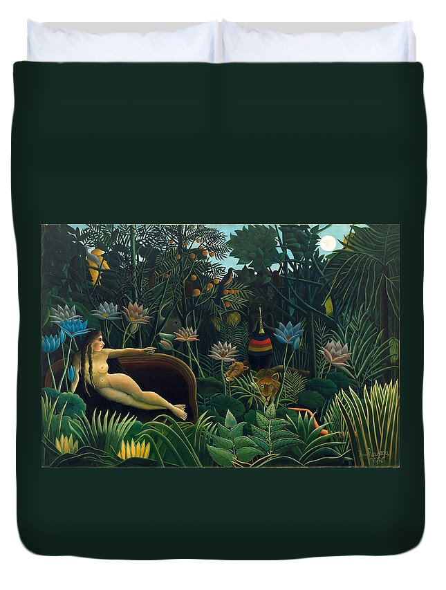 Henri Rousseau Duvet Cover featuring the painting The Dream by Henri Rousseau