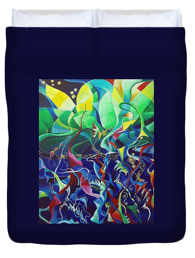 Darius Milhaud Duvet Cover featuring the painting the dreams of Jacob by Wolfgang Schweizer