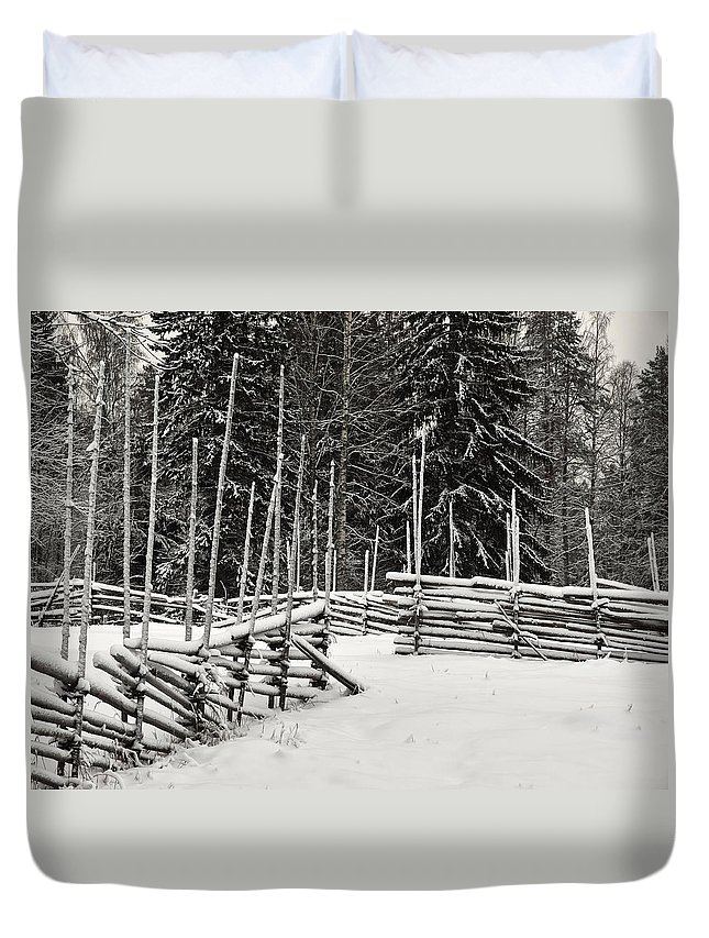 Finland Duvet Cover featuring the photograph The Fence Of Kovero by Jouko Lehto