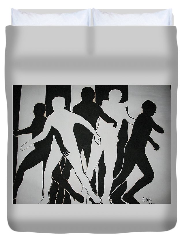 Black Duvet Cover featuring the painting The Fugitive by Calvin Ott
