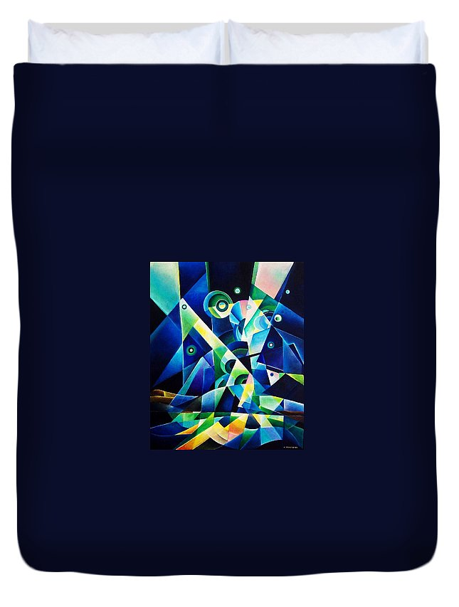 Gates Acrylics Abstract Duvet Cover featuring the painting The Gates by Wolfgang Schweizer