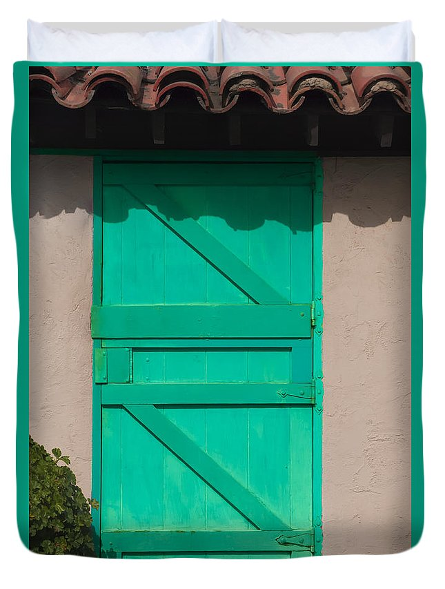 Door Duvet Cover featuring the photograph The Green Door by Dennis Reagan