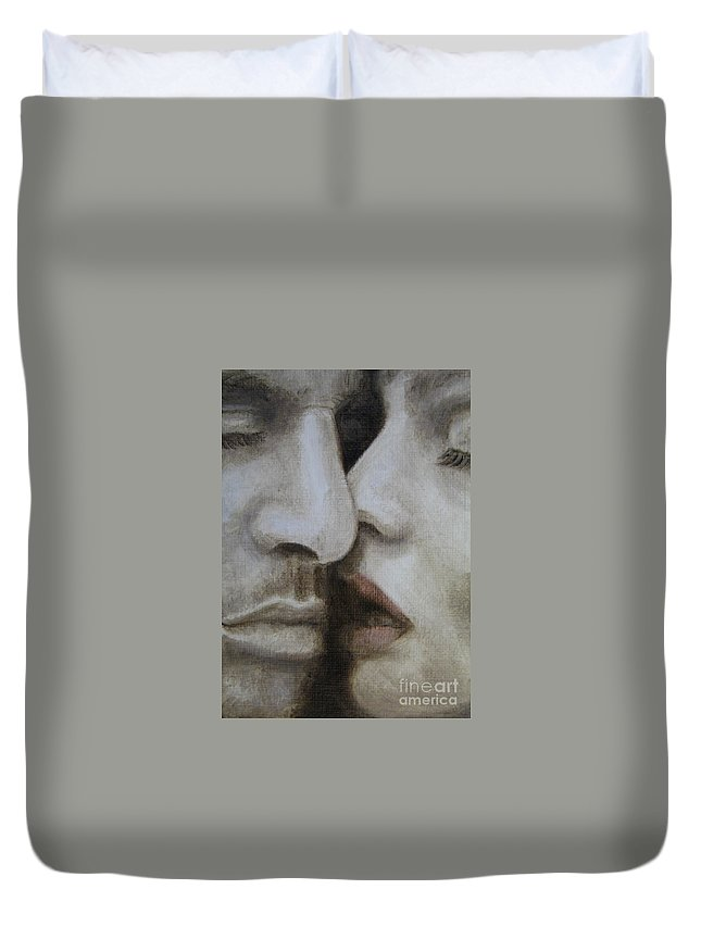 Noewi Duvet Cover featuring the painting The Kiss by Jindra Noewi