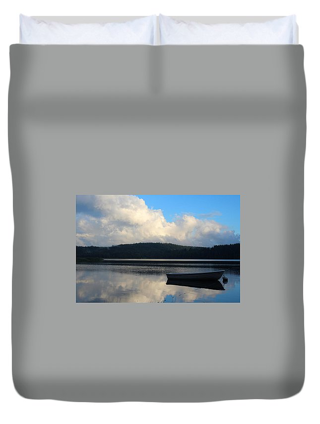 Boat Duvet Cover featuring the photograph The Lake by Heike Hultsch