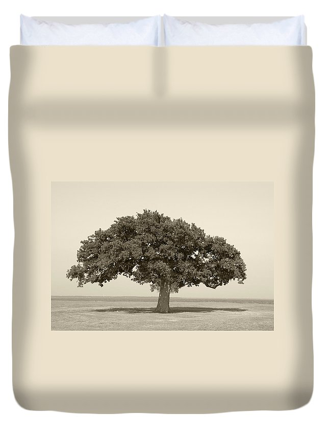 Tree Duvet Cover featuring the photograph The Lonely Tree by Charles Beeler