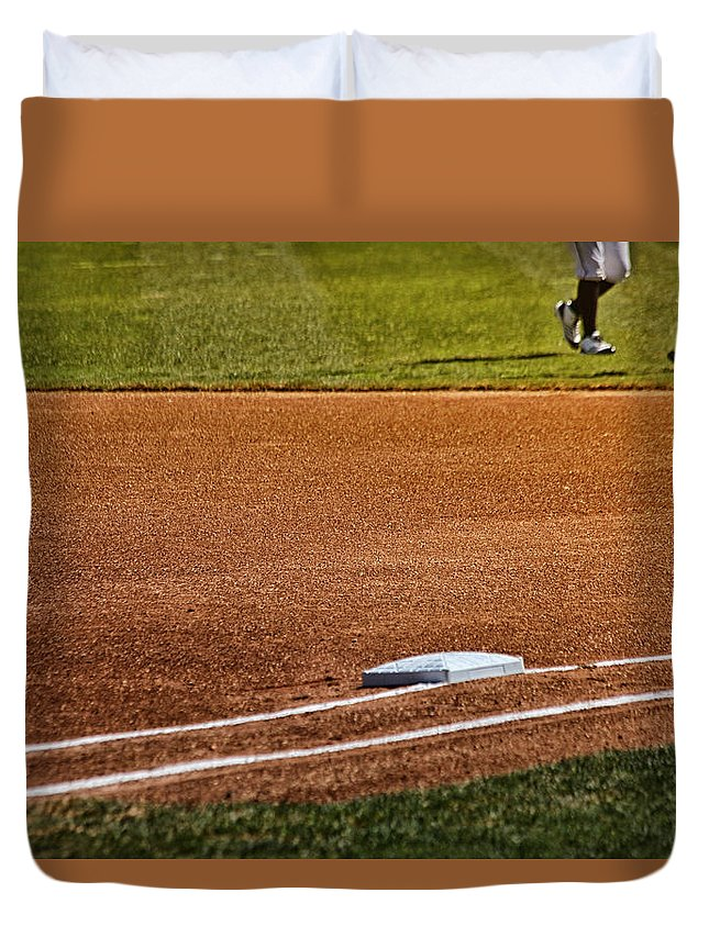 Baseball Duvet Cover featuring the photograph The Meet by Karol Livote
