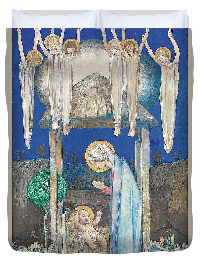 Nativity Duvet Cover featuring the painting The Nativity by Edward Reginald Frampton