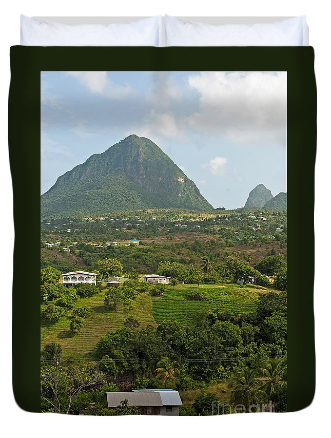 Saint Duvet Cover featuring the photograph The Pitons In Saint Lucia by Luis Alvarenga