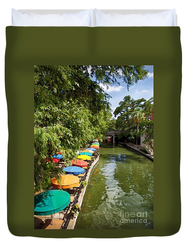 San Antonio River Walk Duvet Cover featuring the photograph The River Walk by Erika Weber