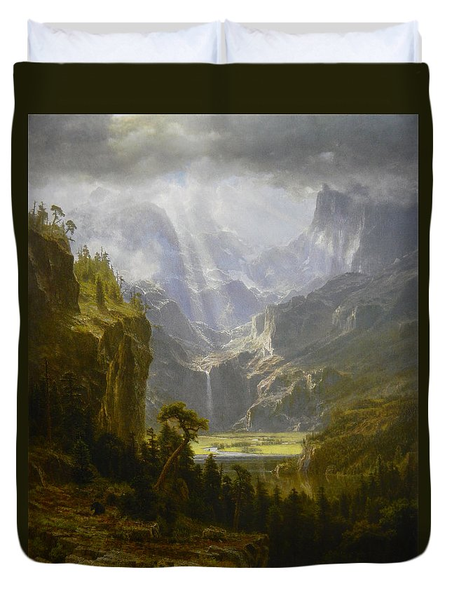 Oil Painting Duvet Cover featuring the painting The Rocky Mountains Lander's Peak by Celestial Images