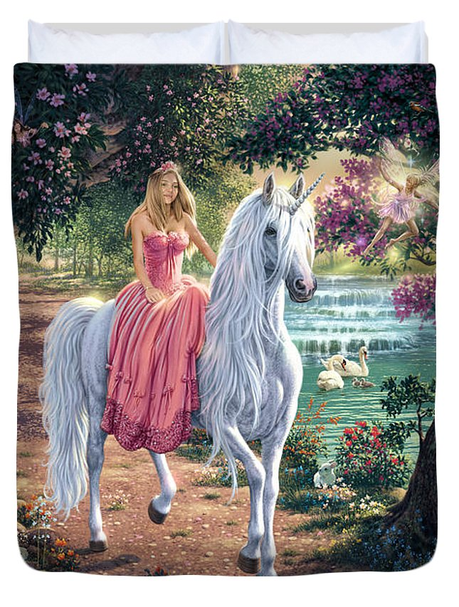 Unicorn Duvet Cover featuring the digital art The Secret Trail by Steve Read