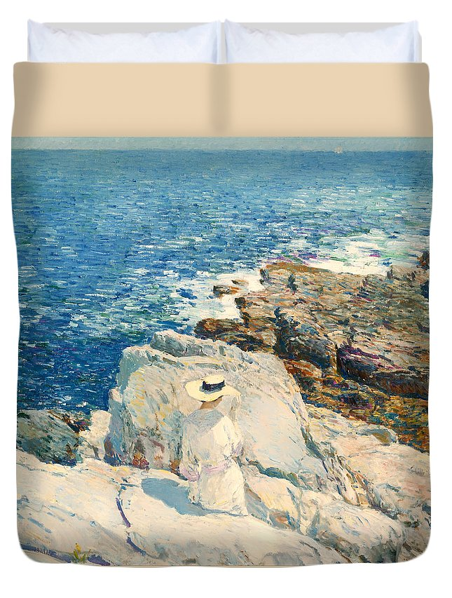 Painting Duvet Cover featuring the painting The South Ledges Appledore by Mountain Dreams