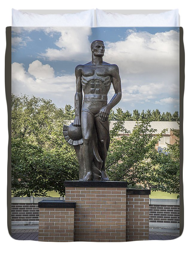 Michigan State University Duvet Cover featuring the photograph The Spartan Statue At Msu by John McGraw