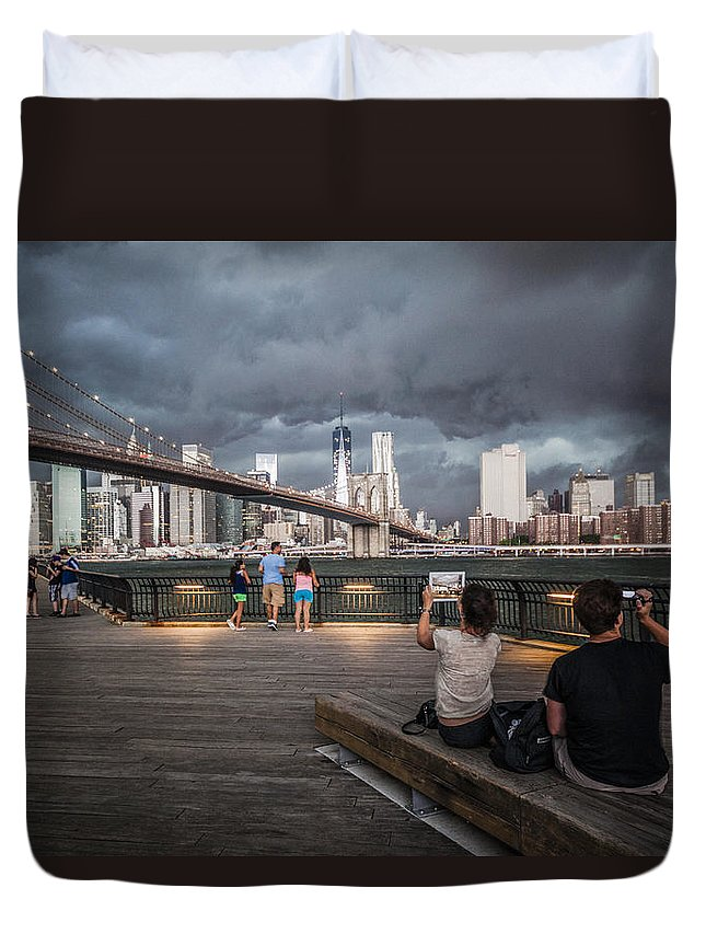 Manhattan Duvet Cover featuring the photograph The Storm Over Manhattan by Alex Potemkin