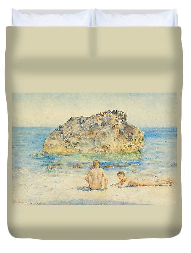 The Sunbathers Duvet Cover featuring the painting The Sunbathers by Henry Scott Tuke