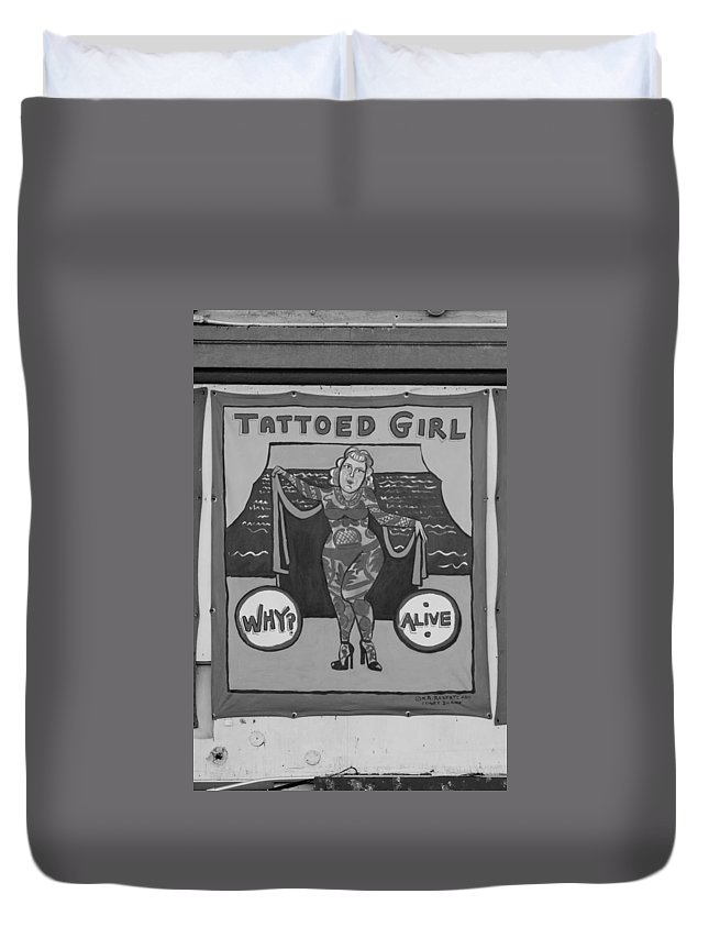 Brooklyn Duvet Cover featuring the photograph The Tattoed Girl In Black And White by Rob Hans
