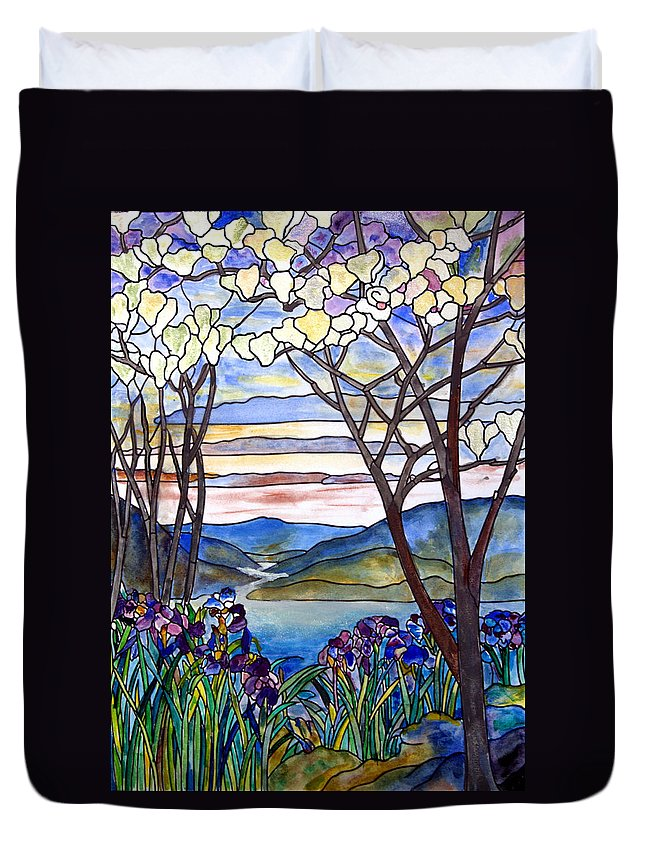 Stained Glass Paintings Duvet Cover featuring the painting Stained Glass Tiffany Frank Memorial Window by Donna Walsh