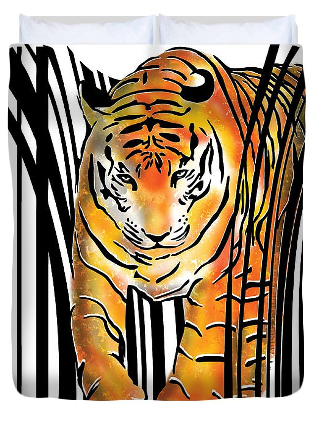 Tiger Duvet Cover featuring the digital art Tiger barcode by Sassan Filsoof