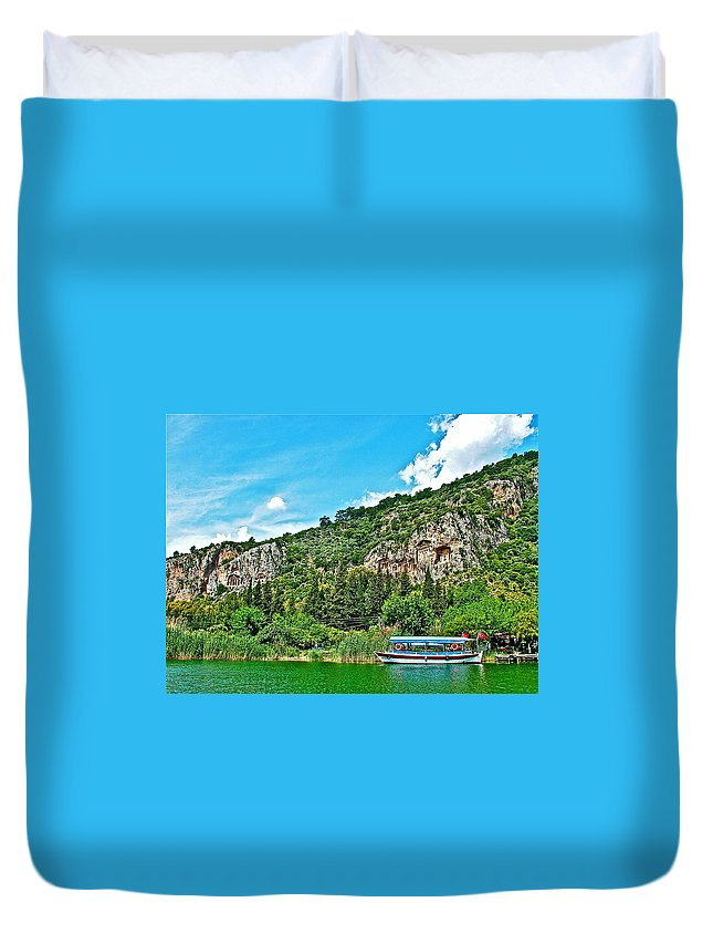 Tourboat Stops By Ancient Tombs In Daylan Duvet Cover featuring the photograph Tourboat Stops By Ancient Tombs In Daylan-turkey by Ruth Hager