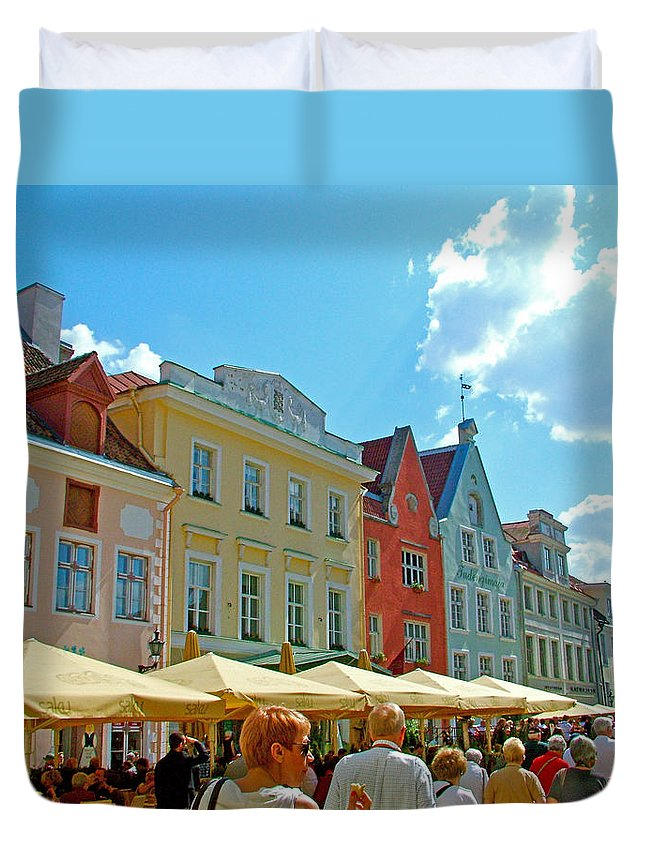 Busy Town Square In Old Town Tallinn Duvet Cover featuring the photograph Town Square In Old Town Tallinn-estonia by Ruth Hager