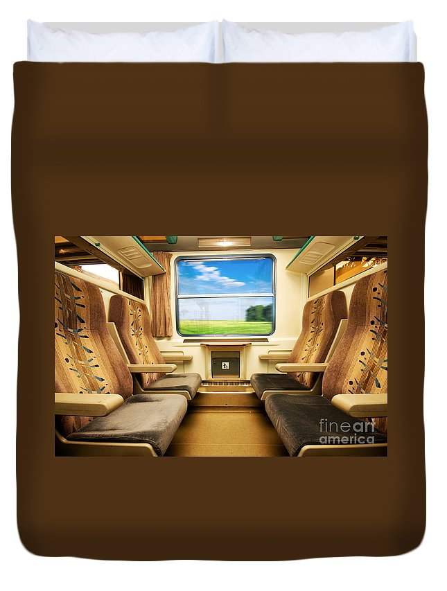 Beautiful Duvet Cover featuring the photograph Travel In Comfortable Train. by Michal Bednarek